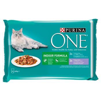 PURINA ONE Indoor Formula Karma dla kotów 4 x 85 g