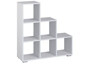Regał schodkowy Vanmar nowoczesny na książki ażur biały 3x3