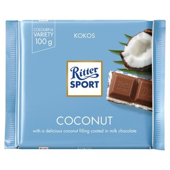 Ritter Sport Czekolada mleczna nadziewana kremem mleczno-kokosowym 100 g