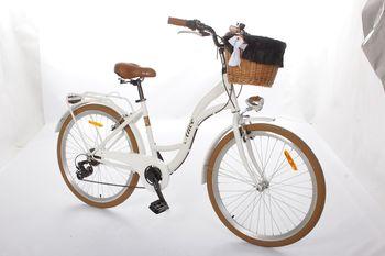 Rower miejski Alice Soul 26 6B Shimano z wiklinowym koszem