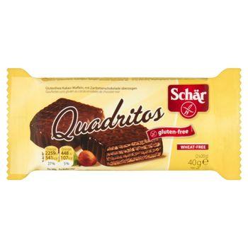 Schär Quadritos Bezglutenowe wafle o smaku kakaowym pokryte gorzką czekoladą 40 g (2 sztuki)
