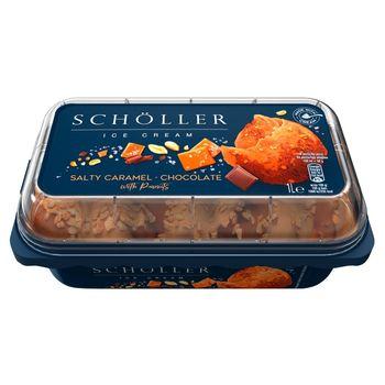 Schöller Lody karmelowe z solą i lody czekoladowe z kawałkami orzeszków ziemnych 1 l