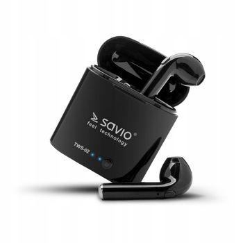 Słuchawki bezprzewodowe douszne SAVIO TWS-02 Czarne