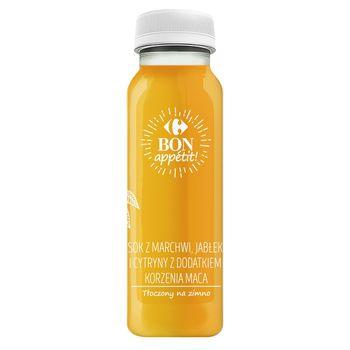 Sok z marchwi, jabłek, cytryn z dodatkiem korzenia maca 250 ml