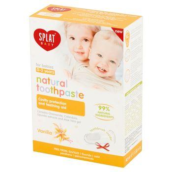 Splat Baby Naturalna pasta do zębów dla dzieci wanilia 40 ml i Silikonowa szczoteczka na palec
