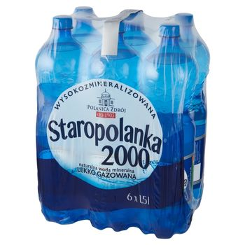 Staropolanka 2000 Naturalna woda mineralna wysokozmineralizowana lekko gazowana 6 x 1,5 l