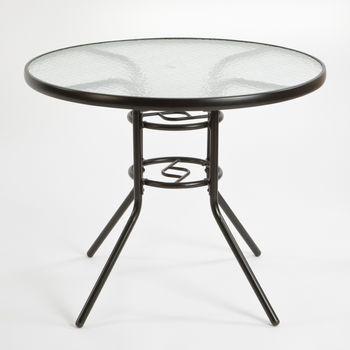 Stół Ogrodowy CR Metalowy Szklany Blat 90 cm