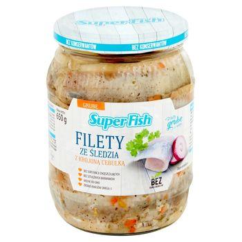 SuperFish Filety ze śledzia z krojoną cebulką 650 g