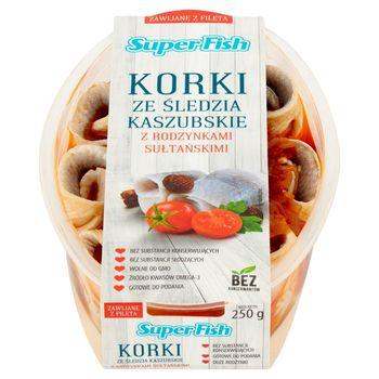SuperFish Korki ze śledzia kaszubskie z rodzynkami sułtańskimi 250 g