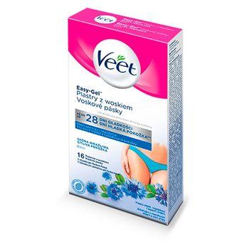 Veet Easy-Gel Plastry z woskiem skóra wrażliwa 16 sztuk i 3 chusteczki