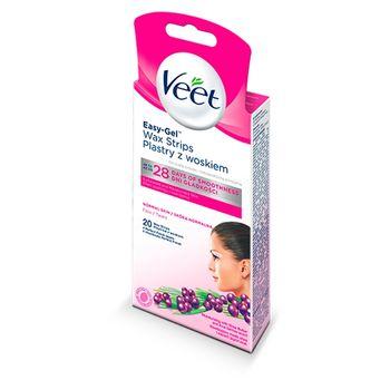 Veet Easy-Gel Plastry z woskiem skóra normalna 20 sztuk i 2 chusteczki
