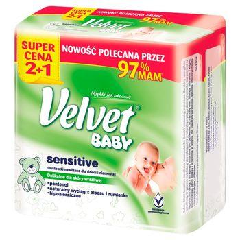 Velvet Baby Sensitive Chusteczki nawilżane dla dzieci i niemowląt 3 x 64 sztuki