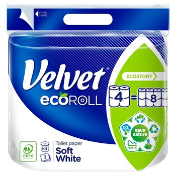 Velvet ecoRoll Delikatnie Biały Papier toaletowy 4 rolki