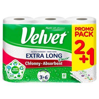 Velvet Extra Long Decor Ręcznik papierowy 3 rolki