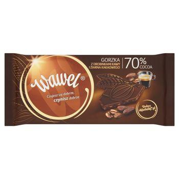 Wawel Czekolada gorzka 70% Cocoa z drobinkami kawy i ziarna kakaowego 100 g