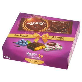 Wawel Malaga śmietankowa z rodzynkami Czekolada i czekolada gorzka 70% cocoa 450 g (350 g +100 g)