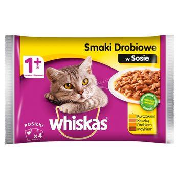 Whiskas 1+ lat Karma pełnoporcjowa smaki drobiowe w sosie 400 g (4 x 100 g)