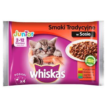 Whiskas Junior 2-12 miesięcy Karma pełnoporcjowa smaki tradycyjne w sosie 400 g (4 x 100 g)