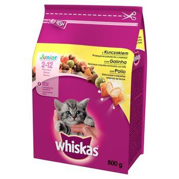 Whiskas Junior z kurczakiem przepyszne paszteciki z mlekiem Karma pełnoporcjowa 2-12 miesięcy 800 g