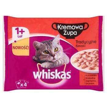 Whiskas Kremowa Zupa Tradycyjne smaki Karma pełnoporcjowa 1+ lat 340 g (4 saszetki)