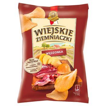 Wiejskie Ziemniaczki Chipsy ziemniaczane o smaku wędzonki 130 g