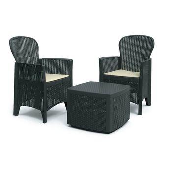 Zestaw Balkonowy Eurohit  Wypoczynkowy Stolik + 2 Fotele