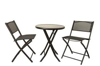 Zestaw Balkonowy Ogrodowy JMS Kaja Czarny Stolik+2 Krzesła