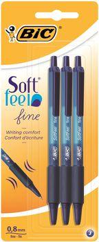 Zestaw długopisów BIC Soft Feel Click Grip Fine Niebieski 3 szt 3086123256460