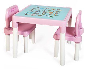 Zestaw mebli dla dzieci Alfa Stolik dwa Krzesła Różowy