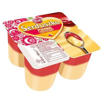 Zott Serduszko Pudding o smaku waniliowym z sosem malinowym 500 g (4 x 125 g)